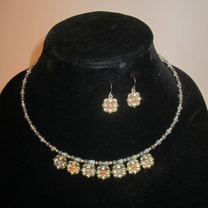 Dainty Crystal Necklace Earrings Set Vintage EUC